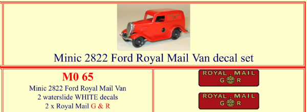 "M065 Tri-ang ( Triang ) Minic 2822 Ford "" Royal Mail G R "" decal set"